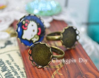 Round Bronze Lace Ring Blank - Adjustable Lace Ring Bezels - Lace Brass Ring Base
