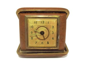 Vintage New Haven Jeweled Travel Alarm Clock/ 1940's Travel Alarm Clock/ Mid-Century Alarm Clock with Brown Case/ Faux Leather Vintage Clock