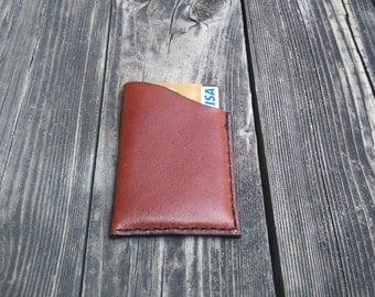 Leather card holder / credit card, visa, mastercard, Handmade, hand stitched Brown
