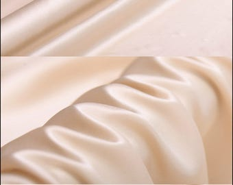 "Beige Silk Charmeuse Fabric - Designer Solid Lining Cloth by The Yard or Meter 114 cm (44"") wide"