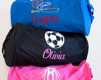 Girls Personalized Duffle bag, Monogrammed Soccer bag-Ballet bag- Custom Duffle bag- Hot pink, Black Duffle bag