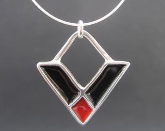 Crossroads Necklace - New Century Modern - Black and Red Reversible Enamel Necklace
