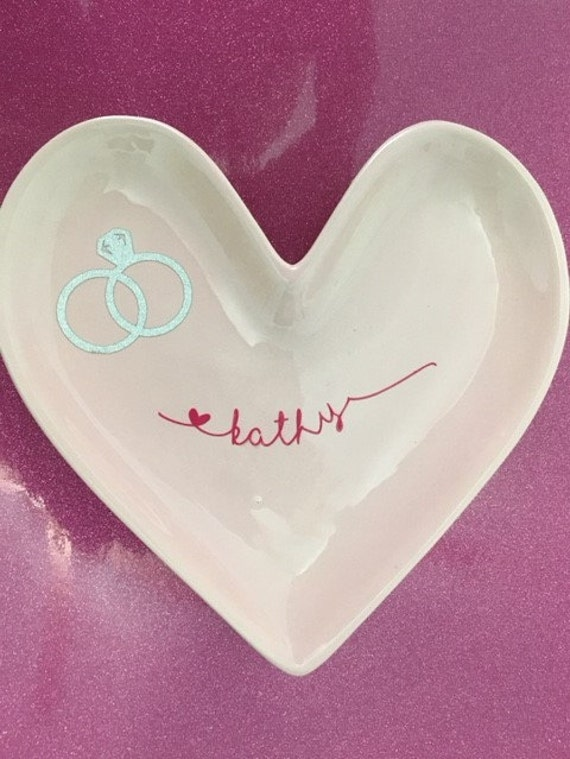 Ring dish, personalized, Valentines Day gift.  Keep your rings safe.  Porcelain Ring dish. Red or pink  Bridal shower gift.