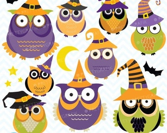 80% OFF SALE Halloween Owls clipart, commercial use, vector graphics, digital clip art, digital images - CL573