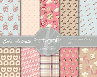 80% OFF SALE Bake sale treats digital paper, commercial use, scrapbook papers, background  - PS524