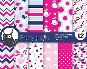 80% OFF SALE Pink Nautical whale digital paper, nautical digital papers commercial use, pink scrapbook papers, background - PS805