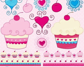 80% OFF SALE cupcake clipart commercial use, vector graphics, digital clip art, digital images  - CL301