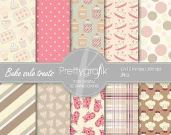 80% OFF SALE Bake sale treats digital paper, commercial use, scrapbook papers, background  - PS526