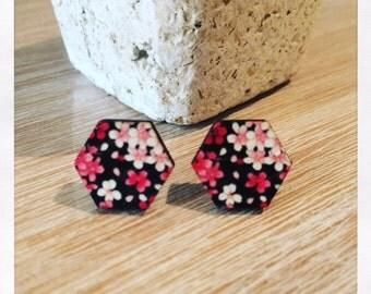 Laser Cut Wooden Floral Earrings