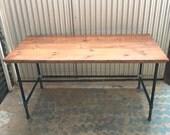 Wayne Desk 60x30 Solid Wood and Steel Pipe Modern Industrial Vintage Furniture