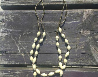 Ivory Double Strand Paper Bead Necklace