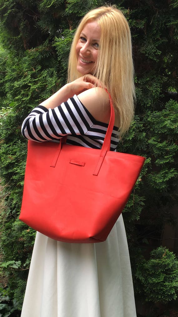 Red Bag,15 inch laptop bag, Tote Bag, Red Leather Bag, Handmade Office Bag, Leather Shoulder Bag,