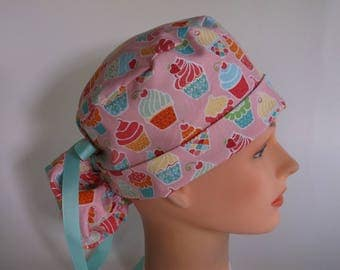 Cupcakes Ponytail - Womens lined surgical scrub cap, Nurse surgical scrub hat, 151-1180 W