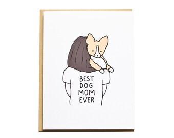 Dog Mom Card, Mother's Day Card, Corgi Card, Dog Card, Dog Mom, Mom Birthday, Corgi Mom