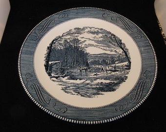 "Vintage  Royal China Jeannette, Currier & Ives style 12"" Blue  Plate (1 plate)"
