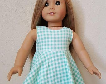 Aqua and white Gingham Sleeveless Skater Dress for 18 inch dolls by The Glam Doll
