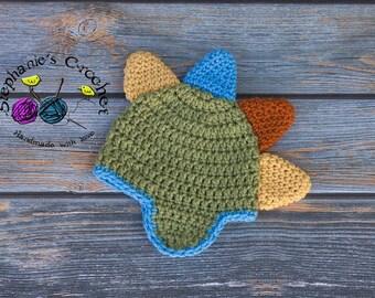 Crochet dinosaur Hat, Dino, dino hat, dino beanie, dinosaur beanie, spikes hat- Made to Order
