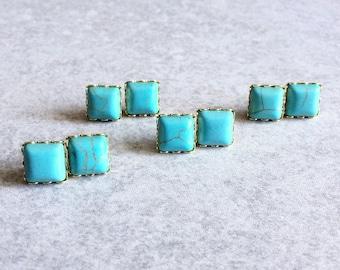 Turquoise Square Stone Earrings - Gold Scalloped Bezel Edges/Stud Posts, Aqua Blue, Geometric, Howlite, Minimalist Jewelry, Simple Studs