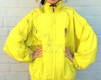 Yellow vintage windbreaker, vintage bomber jacket, outdoor jacket, vintage activewear, retro jacket, sportswear, outdoor jacket, XL/L