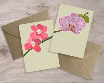 12 Orchid Enclosure Cards, Boxed Set Flower Cards