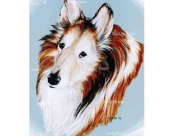 Collie, Collie Art, Collie Dog, Senior Collie, Collie Picture, Collie Painting, Pet Portrait, Collie Print, Dog Breeds, Art by Weeze