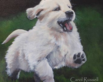Hand painted Puppy 'Vivian' on Vegan Tote
