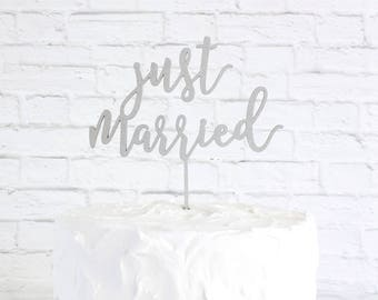 Just Married Cake Topper, Wedding Cake Topper, Custom Cake Topper, DIY Cake Topper