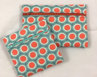 Cosmetic bag, travel accessories bag, geometric coin purse, matching bag set