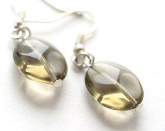 Smoky Quartz earrings Gemstone earrings small dangle earring Everyday Jewelry mom gifts for her Grey Taupe Quartz Earrings minimalist
