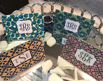 Preppy Monogram Notecards, Multiple Choices, Tile Pattern, Leopard Print Set of 10