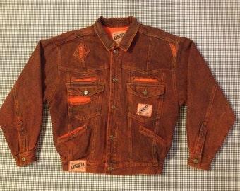 1990's, dark orange, acid wash, denim jacket, by Used, Men's size Medium