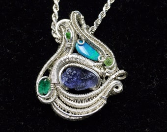 """wire wrapped pendant - """"Tercet"""""""