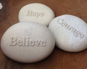 Name or Inspirational Word Stone Embossed