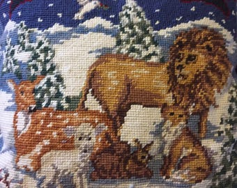 Vintage Needlepoint Pillow ... Free Shipping