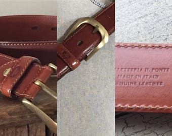 Vintage Men's Leather Belt Made in Italy ... Free Shipping ... 10% Off Coupon SAVE10
