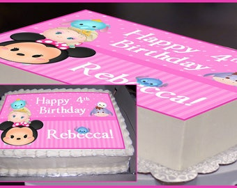 Edible Cake Topper, Tsum Tsum Party, Tsum Tsum Birthday, Tsum Tsum Cake Topper, Minnie Mouse, Disney