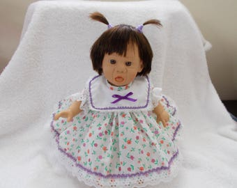 "11"" Baby Girl partially Reborn Vinyl w/ cloth body vintage Gi-go Toys 1993 sad brown hair brown eyes pouty stuffed Easter Christmas toy"