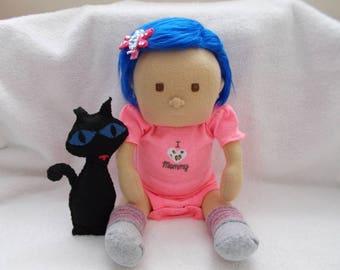 "16"" Baby Coraline w/ Wuss Puss Cat handmade cloth Doll plush stuffed Mongolian Blue Hair Brown Eyes Easter Christmas girl toddler"