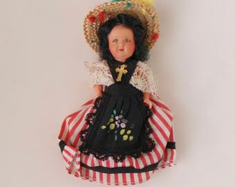 Vintage Ethnic DOLL, Moveable Arms, Braids and straw Hat, European Mediterranean style Doll w Handmade Clothes, Doll w Painted face