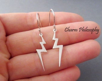 Lightning Bolt Earrings - 925 Sterling Silver - Storm Jewelry