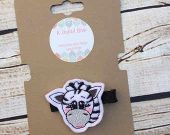 Zebra feltie hair clips, simple hair clips, toddler hair clips,  toddler gifts, young girls