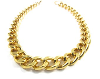 Gold Chunky Chain Statement Necklace Matching Bracelet Available