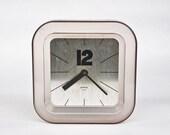 Vintage Plexi Glass Wall Clock / Gorenje, 70's Yugoslavia / Silver