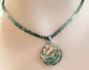 Rare Emerald Beaded Necklace with Enamel Flower Pendant - 14 karat, silver, diamonds, and enamel