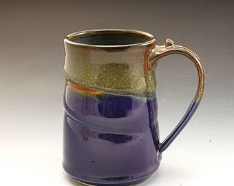 Pottery Mug Handmade Large Blue Brown Stoneware by Mark Hudak