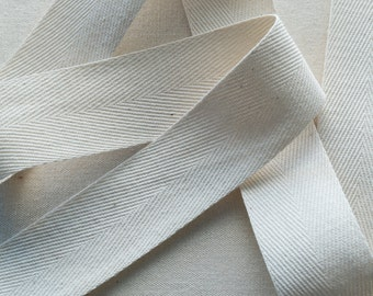 1 1/2 Inch Wide Twill Tape, Natural Cotton Heavyweight - 1, 5 or 10 yards