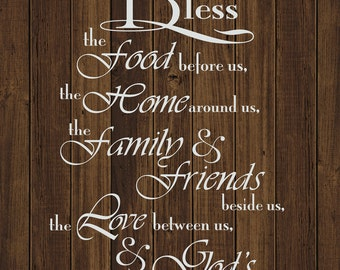 """Kitchen prayer quality canvas quote, """"Bless the food before us, the home around us, the family and friends beside us , , , ,God's presence"""