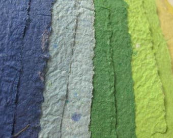10 Handmade Paper Blue Green Yellow Shades