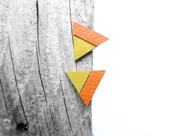 Geometric Leather Post Stud Earrings