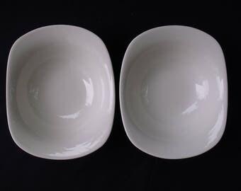 Iroquois Impromptu Bridal White Ben Seibel Coupe Soup Bowl Pair
